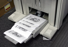 Printing, folding, and stapling booklets