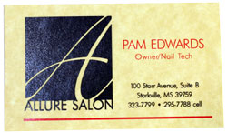 Allure Salon business card