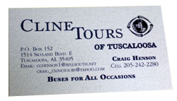 Cline Tours of Tuscaloosa business card
